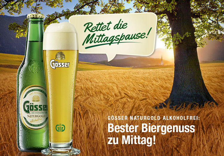 Gösser Naturgold Alkoholfrei - Bester Biergenuss zu Mittag!